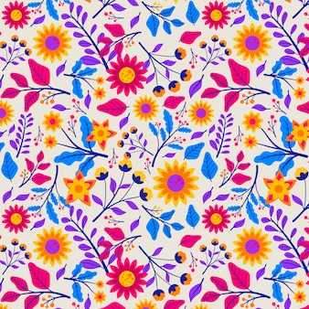 Patrón con flores y hojas exóticas
