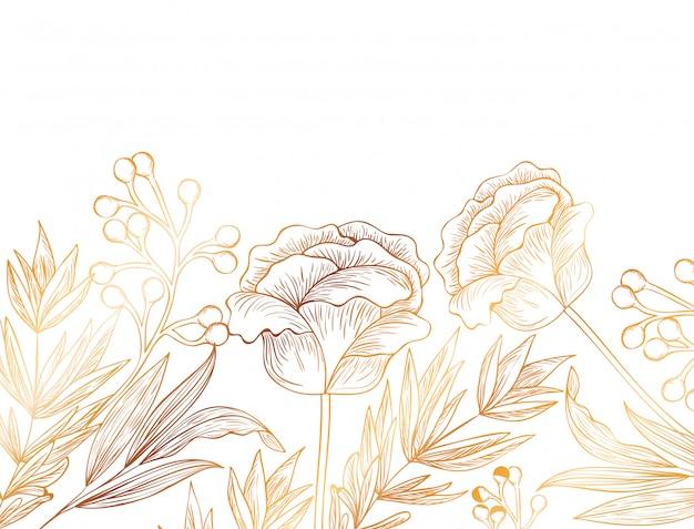 Patrón de flores y hojas icono aislado