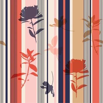Patrón de flores y hojas de silueta perfecta en rayas de colores imprimir vector