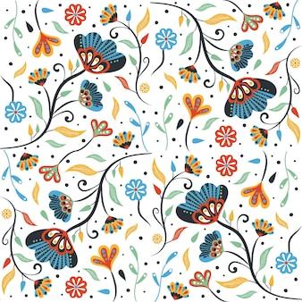 Patrón de flores y hojas tropicales pintadas