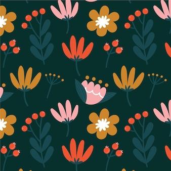 Patrón con flores y hojas