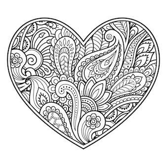 Patrón de flores mehndi en forma de corazón. decoración en estilo étnico oriental, indio. saludos de san valentín. página de libro para colorear.