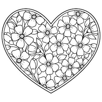 Patrón de flores mehndi en forma de corazón. decoración en estilo étnico oriental, indio.