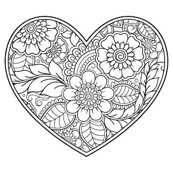 Patrón de flores mehndi en forma de corazón para dibujo y tatuaje de henna.