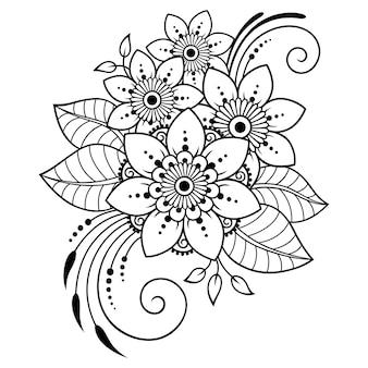 Patrón de flores mehndi y mandala para dibujo y tatuaje de henna.