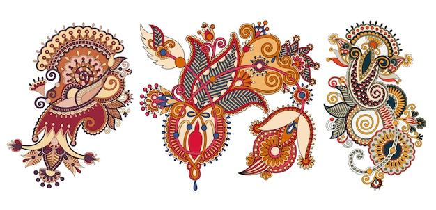 Patrón de flores de paisley en estilo étnico.