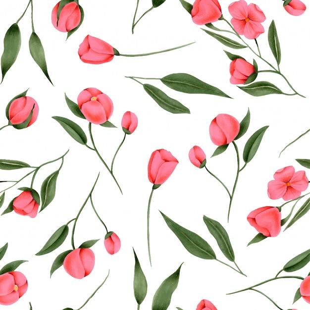 Sin patrón de flores pintadas a mano carmesí