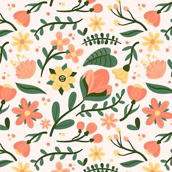 Patrón de flores planas planas orgánicas