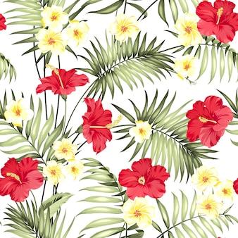 Patrón de flores de plumeria y palmeras de la selva