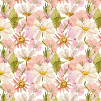 Patrón de flores prensadas acuarela pintada a mano