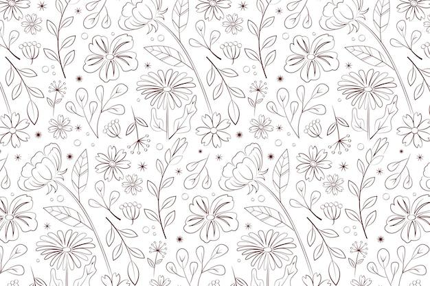 Patron para flores prensadas dibujadas a mano vector gratuito