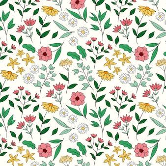 Patrón de flores prensadas dibujado a mano grabado