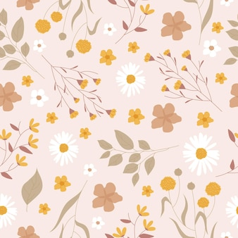 Patrón de flores prensadas