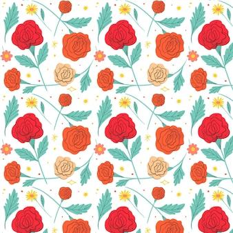 Patrón de flores rojas prensadas