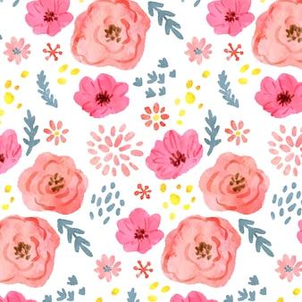 Patrón de flores rosa acuarela abstracta