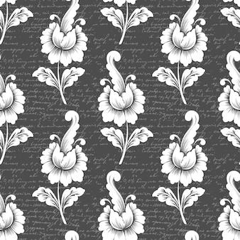 Patrón de flores con texto antiguo. patrón floral antiguo clásico de lujo.