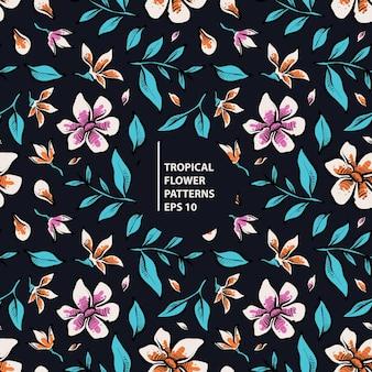 Patrón de flores tropicales de colores transparente