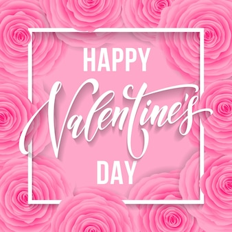 Patrón de flores de valenines y letras de texto de saludo para tarjeta rosa premium