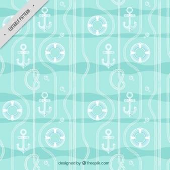 Patrón de flotador, ancla y cuerda dibujados a mano