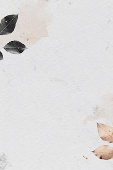Patrón de follaje sobre fondo con textura de mármol