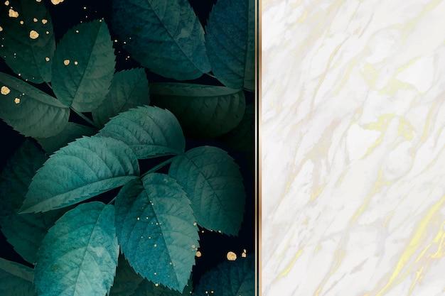Patrón de follaje verde con fondo de mármol blanco