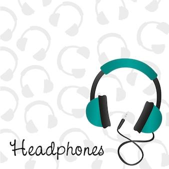 Patrón de fondo de auriculares turquesa en auriculares