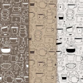 Patrón con fondo de café doodle dibujado a mano