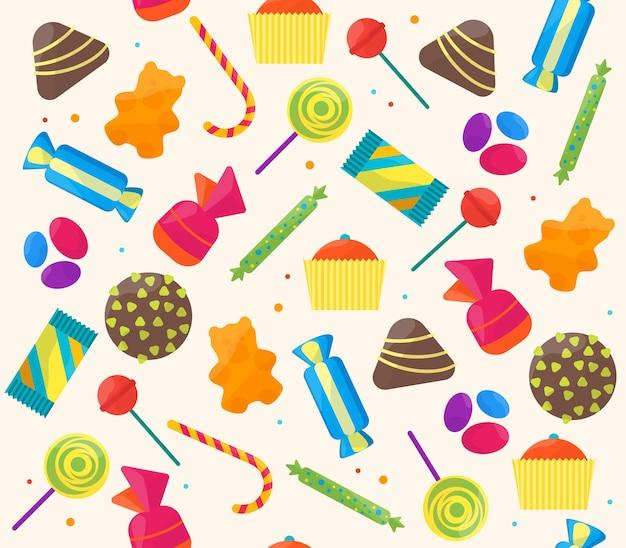 Patrón de fondo de caramelos dulces