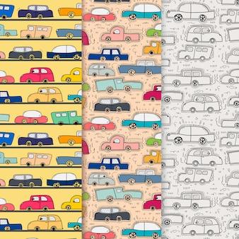Patrón con fondo de coche doodle dibujado a mano