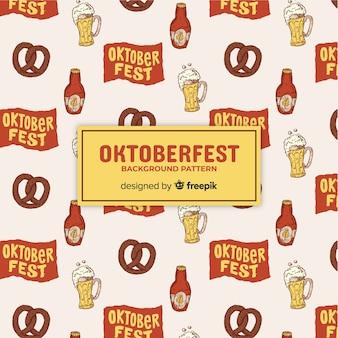 Patrón de fondo de oktoberfest con elementos de comida y bebida