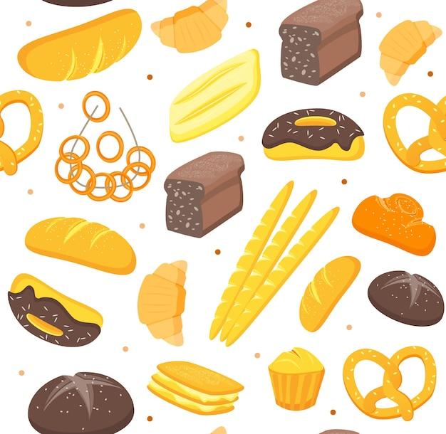 El patrón de fondo de panadería de color de dibujos animados se puede utilizar para diseño web, cafetería y restaurante