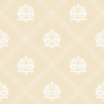 Patrón de fondo de papel tapiz floral clásico en blanco y beige