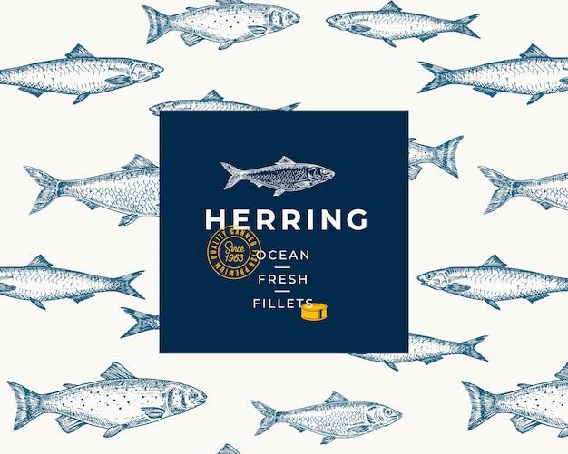 Patrón de fondo de peces dibujados a mano. tarjeta de boceto de paquete abstracto o plantilla de portada con tipografía y emblema de moda. bocetos de arenque, anchvy y salmón.