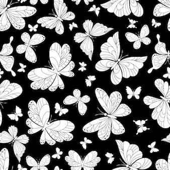 Patrón de fondo transparente de hermosas mariposas