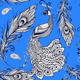 Patrón de fondo transparente de plumas de pájaro pavo real