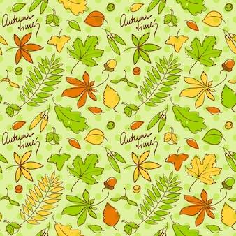 Patrón de fondo transparente de tiempos de otoño con hojas y nueces en hermosos colores