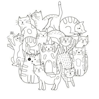 Patrón de forma circular con lindos gatos para colorear