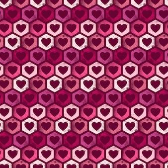 Patrón en forma de hexágono inconsútil con corazones