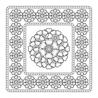 Patrón en forma de mandala con flor