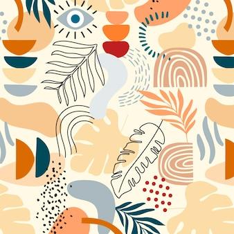 Patrón de formas abstractas planas dibujadas a mano