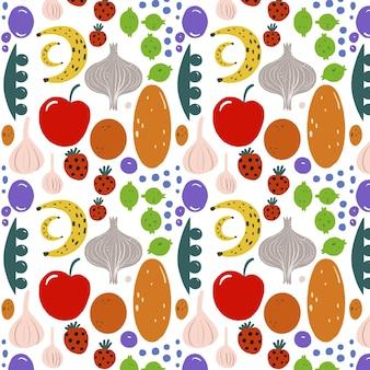 Patrón de formas de frutas dibujadas a mano