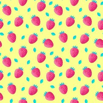 Patrón con fresas y hojas