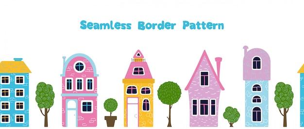 Patrón de frontera inconsútil con casas de dibujos animados, trres,