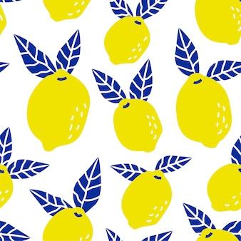 Patrón de fruta de limón tropical sin fisuras