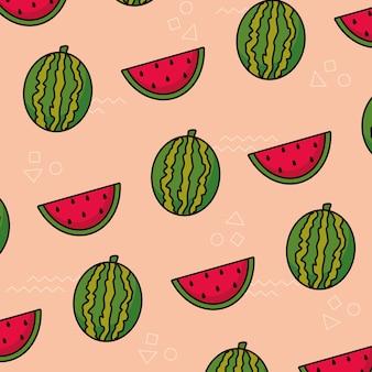 Patrón con fruta de sandía