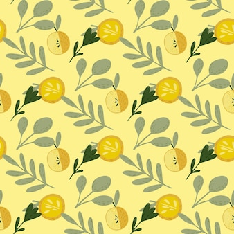 Patrón de fruta transparente de verano con manzanas amarillas y hoja gris
