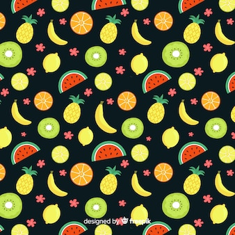 Patrón fruta tropical dibujados a mano