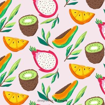 Patrón fruta tropical realista dibujado a mano