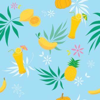 Patrón de frutas amarillas