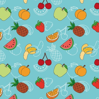 Patrón de frutas con cerezas y manzanas.